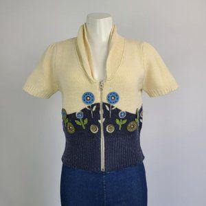 Tristan Cream Flower Wool Cardigan Size M
